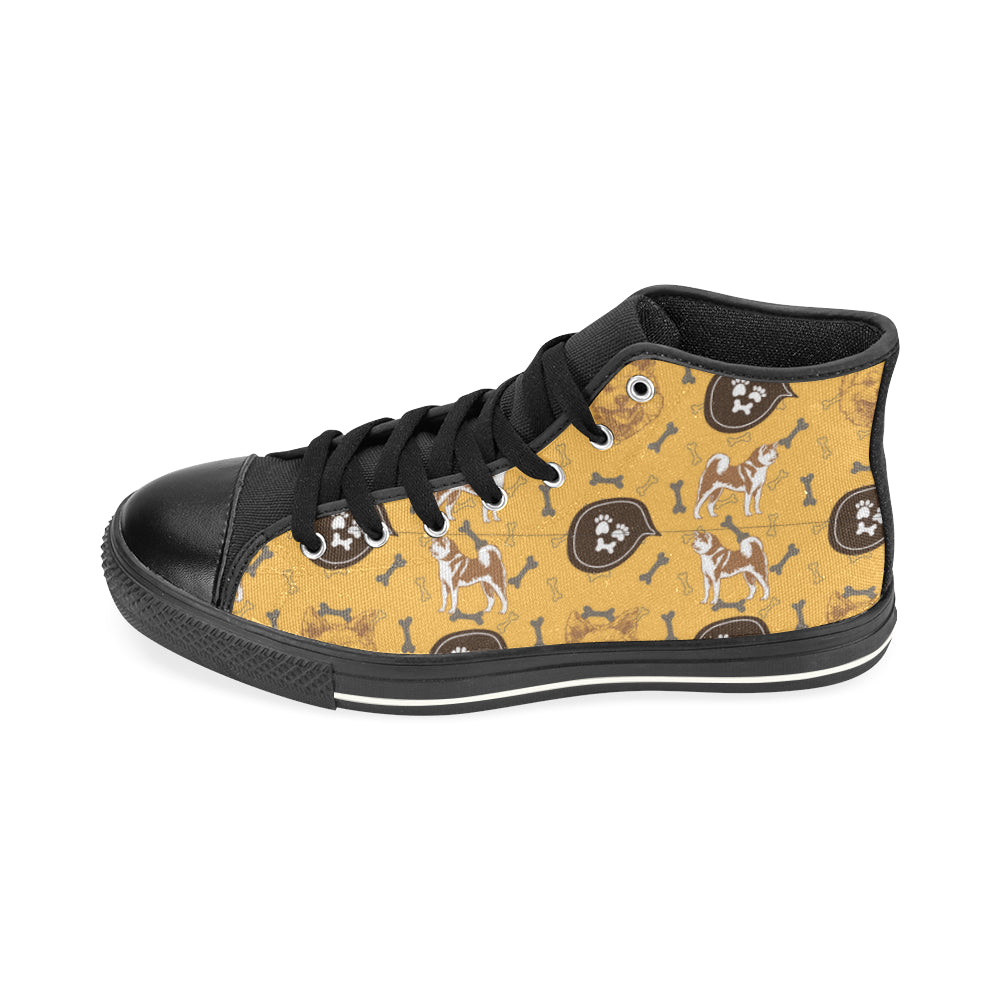 Akita Pattern Black High Top Canvas Women's Shoes/Large Size (Model 017) - TeeAmazing