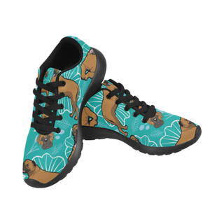 Bullmastiff Flower Black Sneakers for Women - TeeAmazing