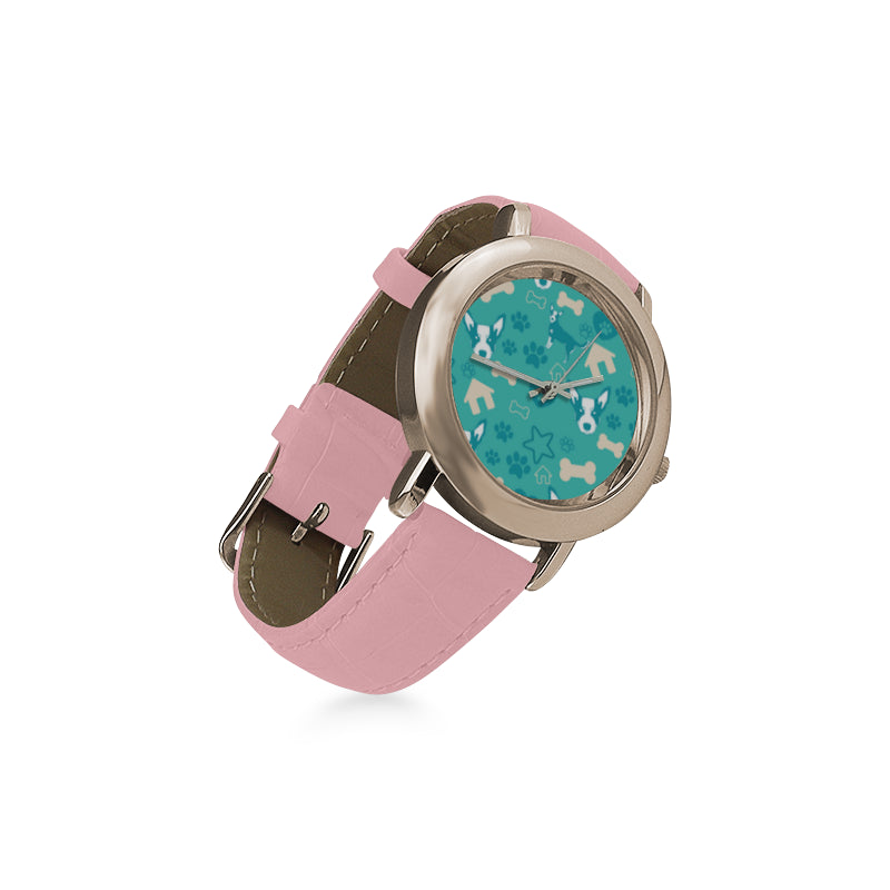 Australian Cattle Dog Pattern Women's Rose Gold Leather Strap Watch - TeeAmazing