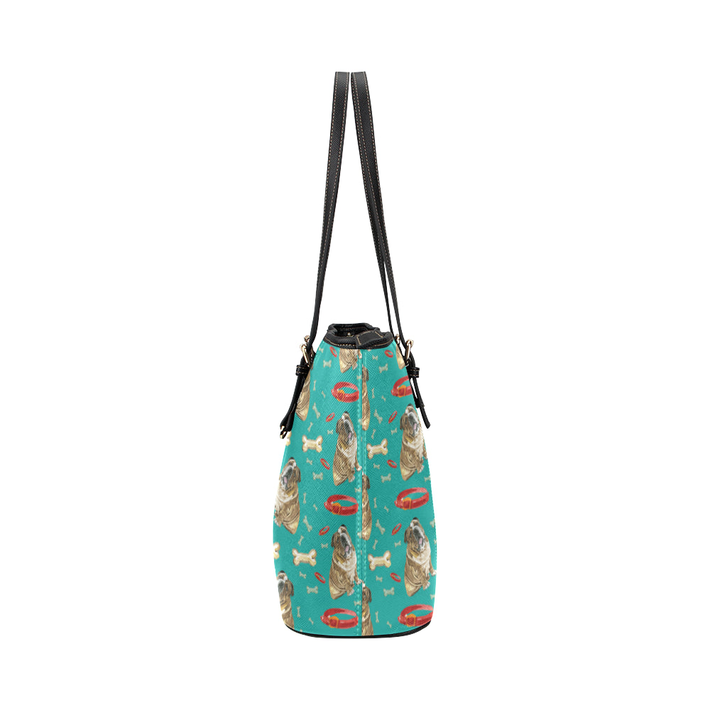 English Bulldog Water Colour Pattern No.1 Leather Tote Bag/Small - TeeAmazing