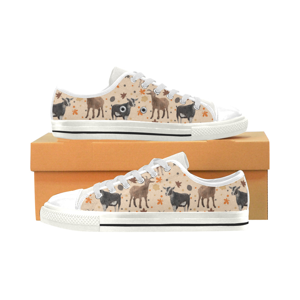 Goat White Low Top Canvas Shoes for Kid