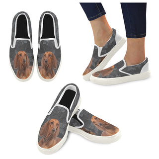 Dachshund Lover White Women's Slip-on Canvas Shoes - TeeAmazing