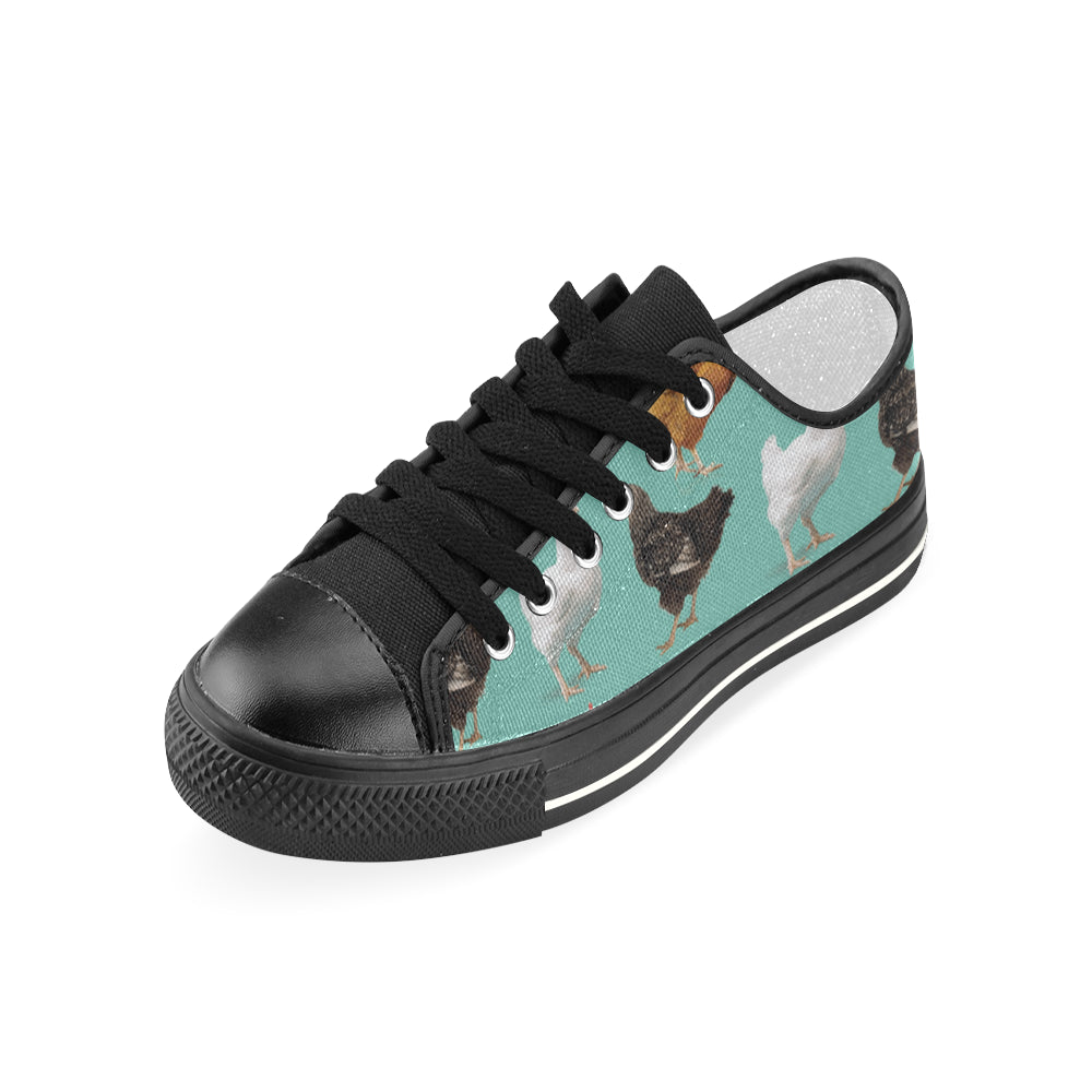 Chicken Pattern Black Women's Classic Canvas Shoes - TeeAmazing
