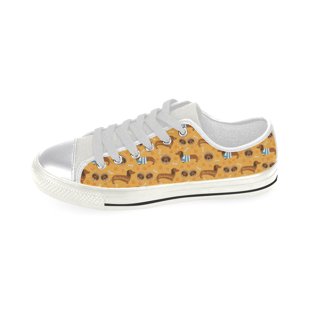 Dachshund Pattern White Canvas Women's Shoes (Large Size) - TeeAmazing