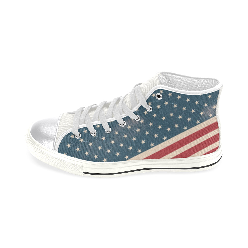 4th July V2 White Women's Classic High Top Canvas Shoes - TeeAmazing