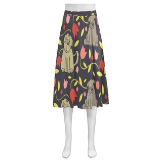 Tibetan Terrier Flower Mnemosyne Women's Crepe Skirt (Model D16) - TeeAmazing