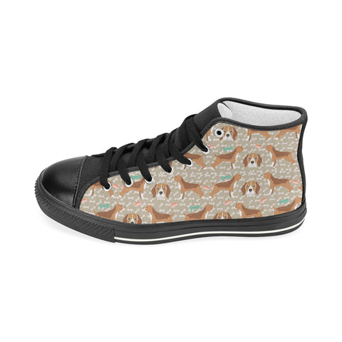 Beagle Pattern Black Women's Classic High Top Canvas Shoes (Model 017) - TeeAmazing
