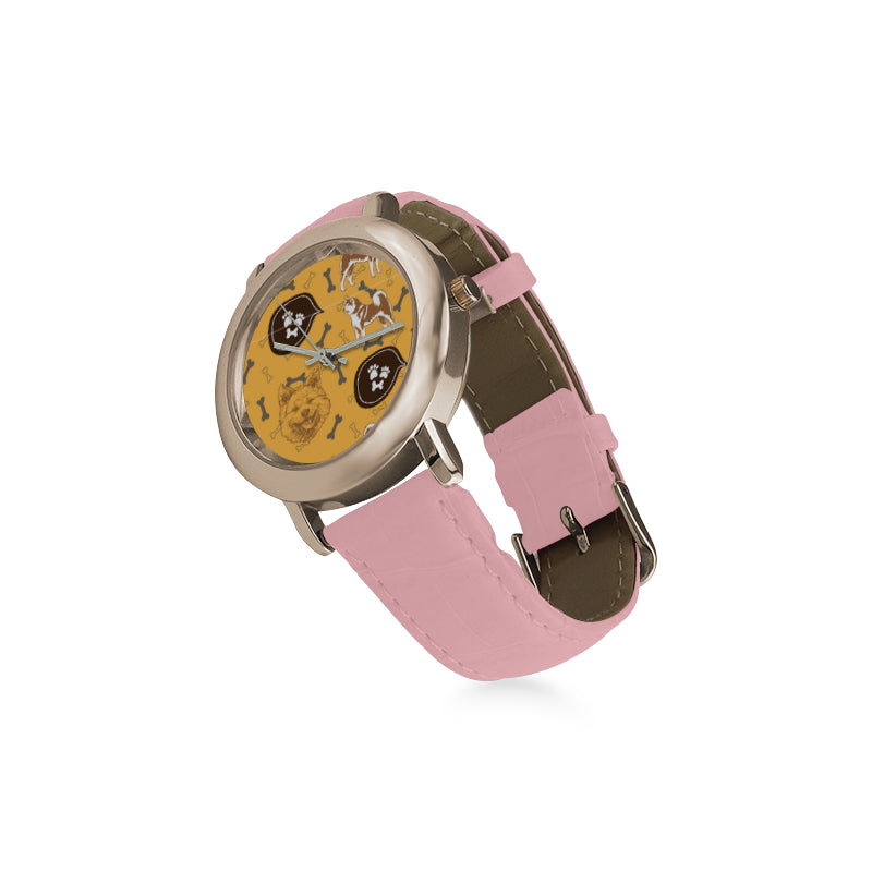 Akita Pattern Women's Rose Gold Leather Strap Watch(Model 201) - TeeAmazing
