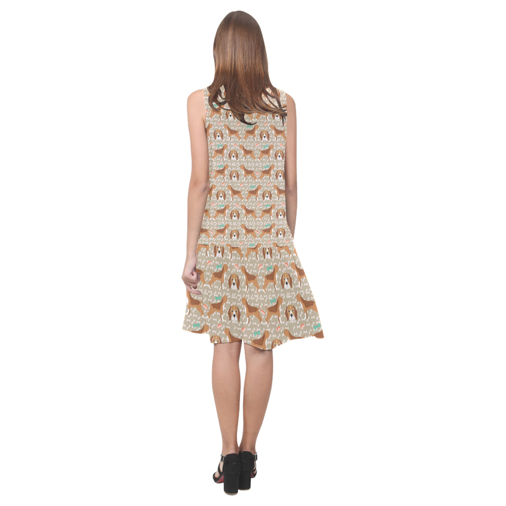 Beagle Pattern Sleeveless Splicing Shift Dress - TeeAmazing