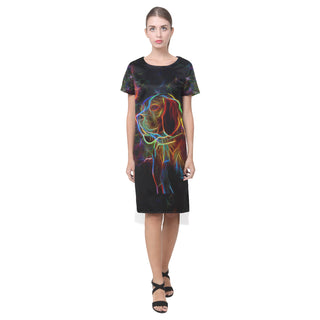 Beagle Glow Design 1 Short Sleeves Casual Dress - TeeAmazing