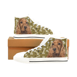 Cocker Spaniel Dog White Men's Classic High Top Canvas Shoes /Large Size - TeeAmazing