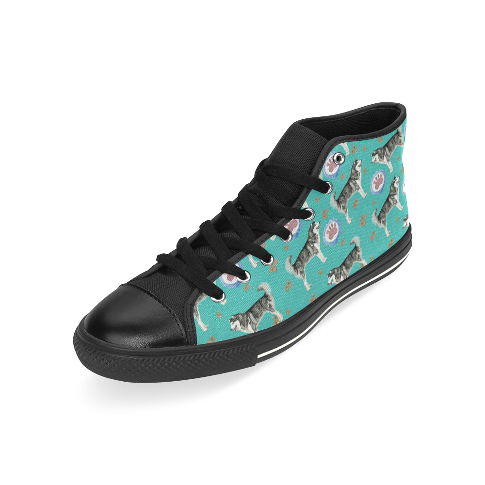 Alaskan Malamute Water Colour Pattern No.1 Black High Top Canvas Shoes for Kid - TeeAmazing