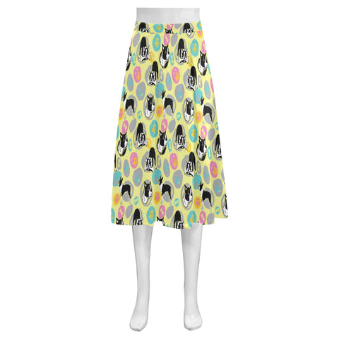 Boston Terrier Pattern Mnemosyne Women's Crepe Skirt - TeeAmazing