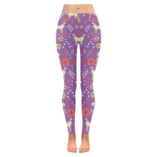 Labrador Retriever Flower Low Rise Leggings (Invisible Stitch) (Model L05) - TeeAmazing