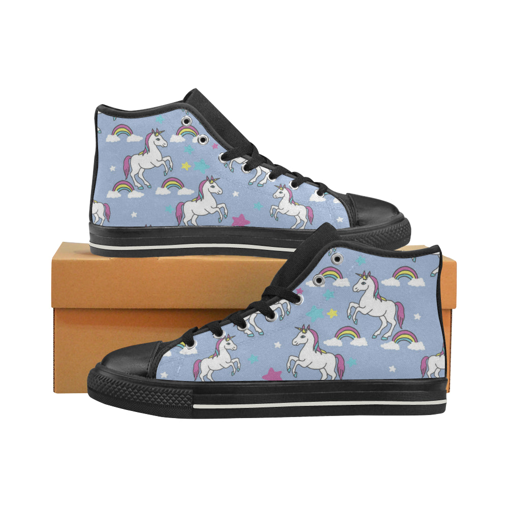 Unicorn Pattern Black Women's Classic High Top Canvas Shoes - TeeAmazing