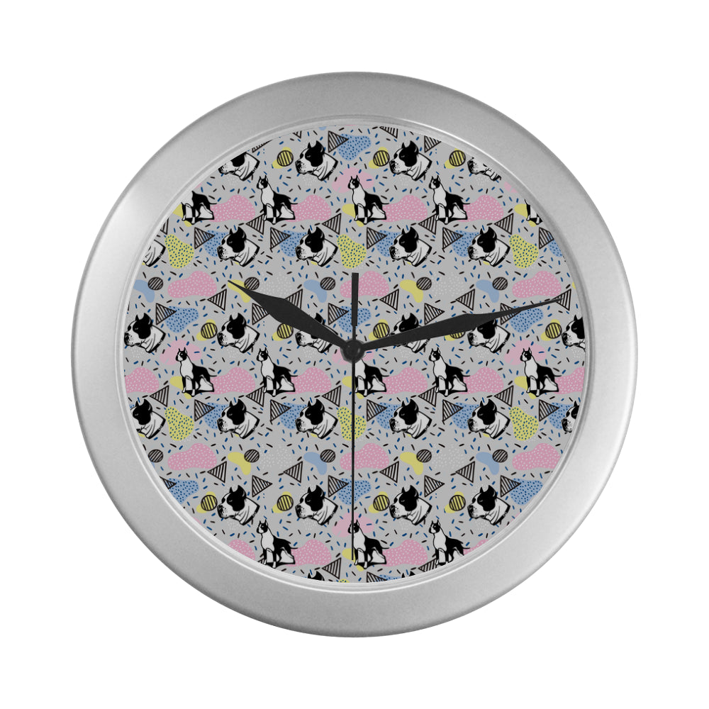 American Staffordshire Terrier Pattern Silver Color Wall Clock - TeeAmazing