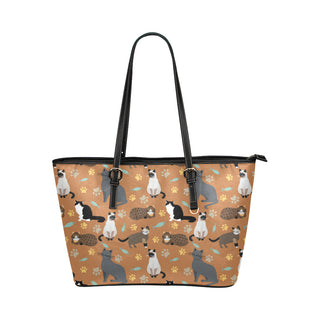 Cat Pattern Leather Tote Bag/Small - TeeAmazing