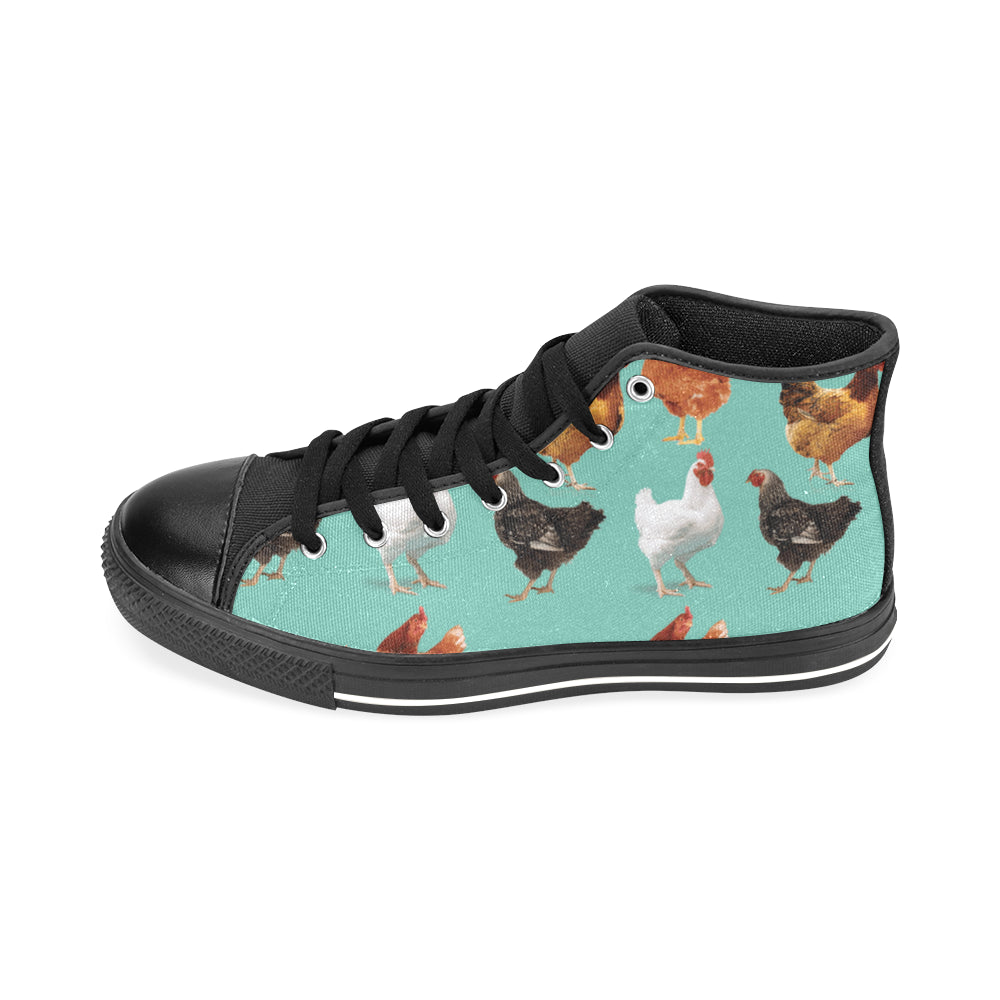 Chicken Pattern Black Men's Classic High Top Canvas Shoes /Large Size - TeeAmazing