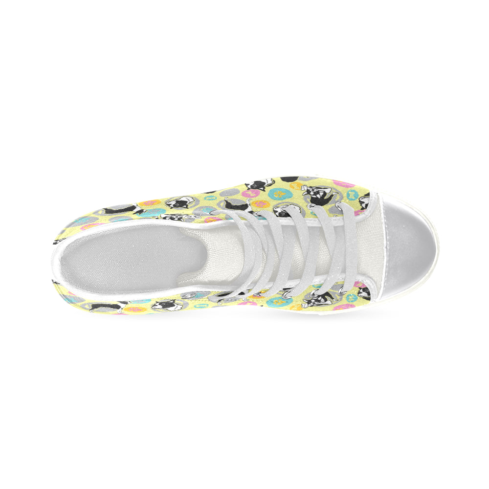 Boston Terrier Pattern White Women's Classic High Top Canvas Shoes - TeeAmazing