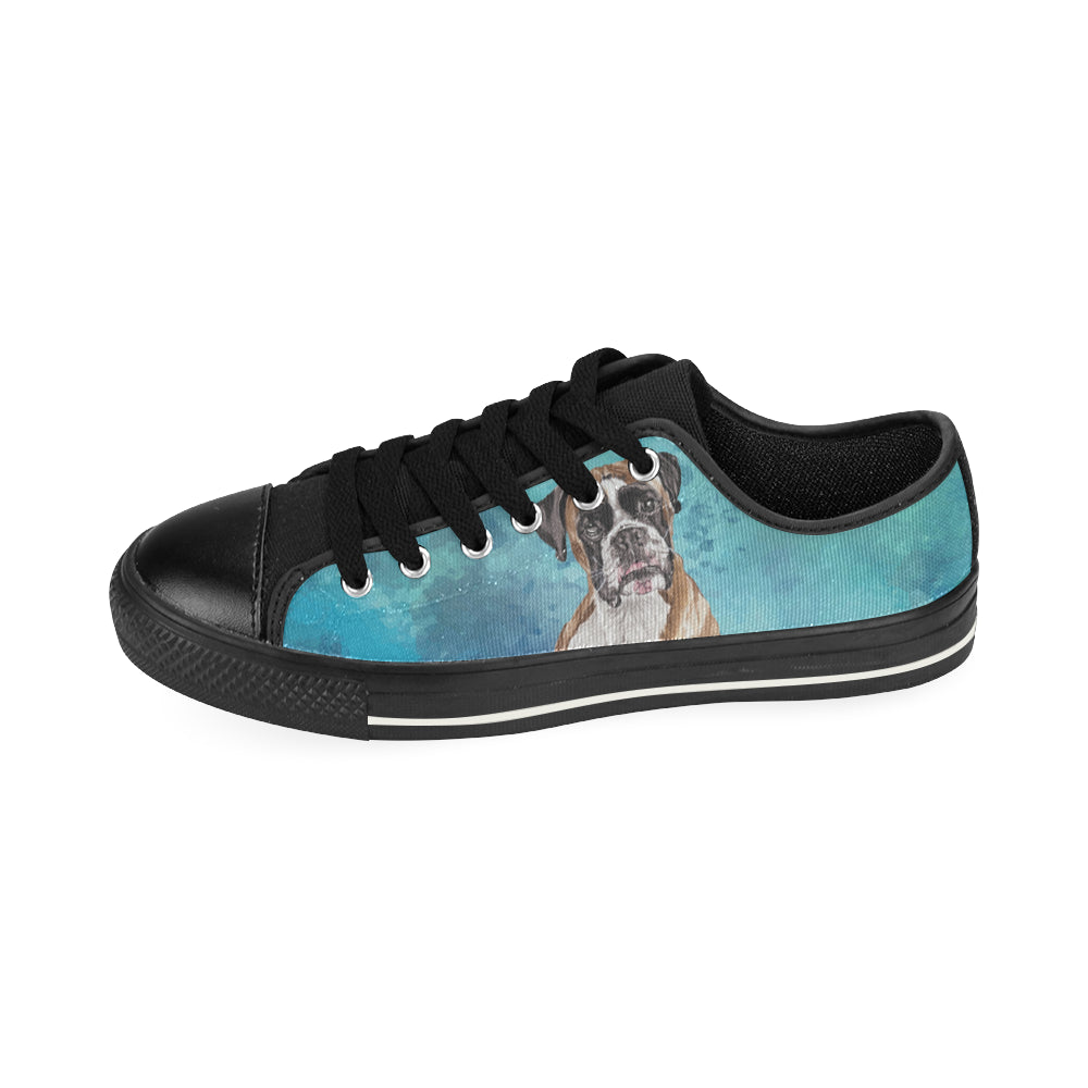 Boxer Water Colour Black Low Top Canvas Shoes for Kid - TeeAmazing