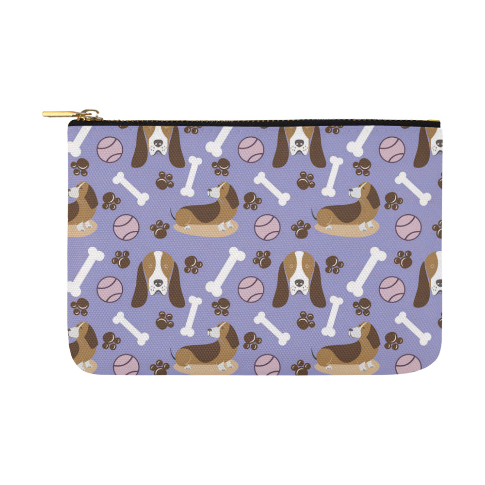 Basset Hound Pattern Carry-All Pouch 12.5x8.5 - TeeAmazing