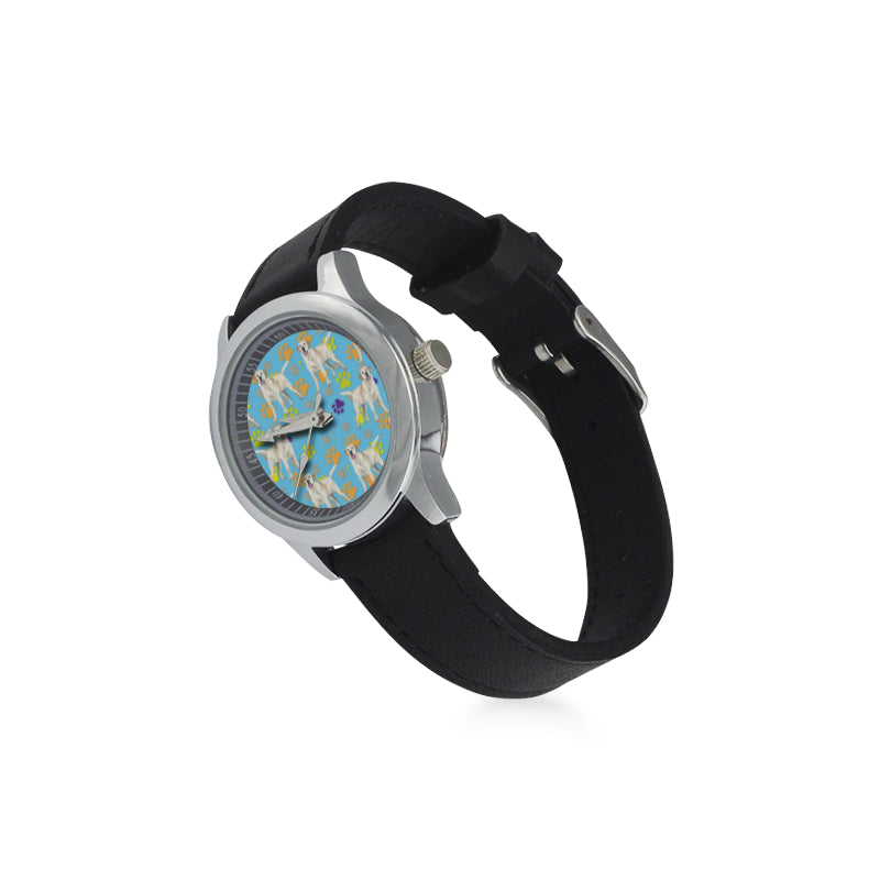 Labrador Retriever Water Colour Pattern No.1 Kid's Stainless Steel Leather Strap Watch - TeeAmazing