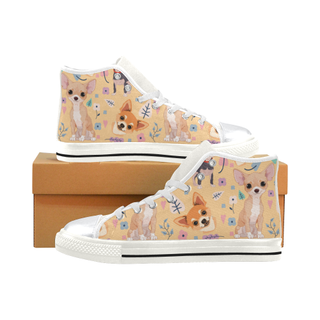 Chihuahua Flower White High Top Canvas Women's Shoes/Large Size (Model 017) - TeeAmazing