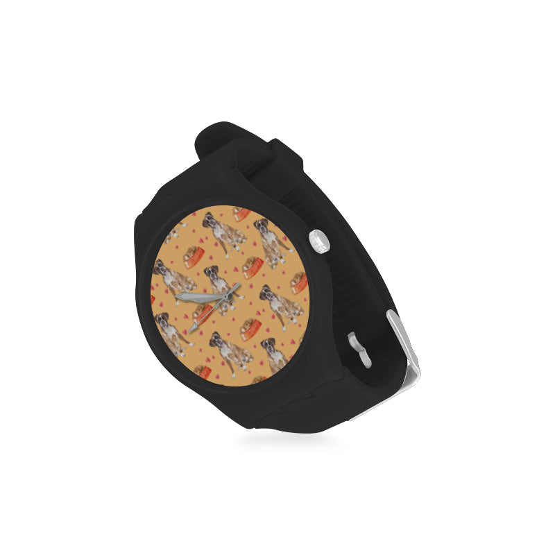 Boxer Water Colour Pattern No.1 Black Unisex Round Rubber Sport Watch - TeeAmazing