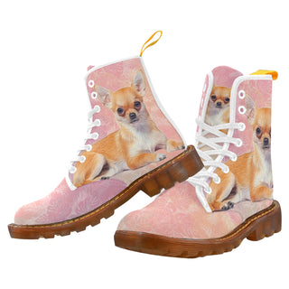 Chihuahua Lover White Boots For Women - TeeAmazing