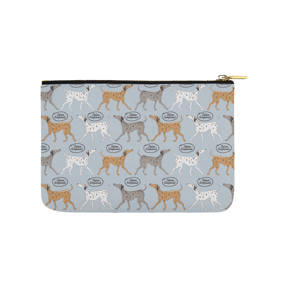 Italian Greyhound Pattern Carry-All Pouch 9.5x6 - TeeAmazing