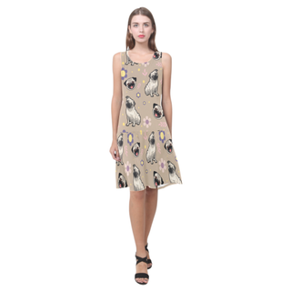 Pug Flower Sleeveless Splicing Shift Dress - TeeAmazing