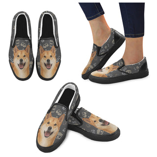 Shiba Inu Dog Black Women's Slip-on Canvas Shoes - TeeAmazing
