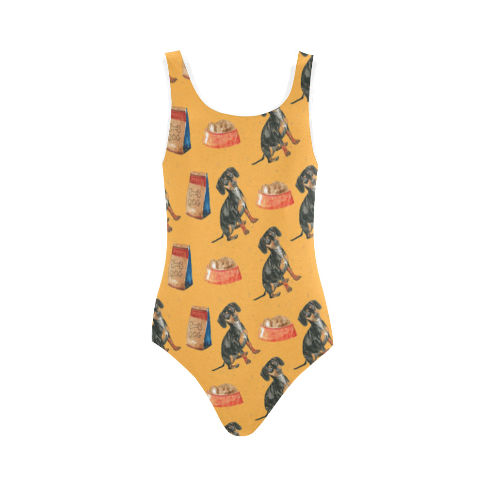 Dachshund Water Colour Pattern No.1 Vest One Piece Swimsuit - TeeAmazing