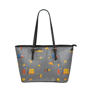 Forklift Driver Pattern Leather Tote Bag/Small - TeeAmazing