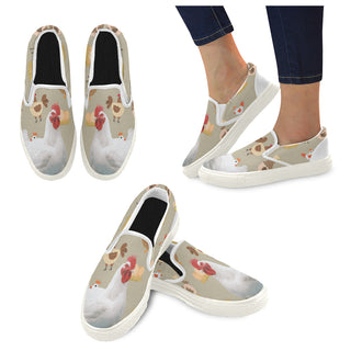 Chicken Lover White Women's Slip-on Canvas Shoes - TeeAmazing