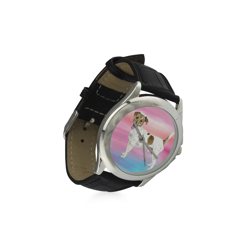 Jack Russell Terrier Water Colour No.1 Women's Classic Leather Strap Watch - TeeAmazing