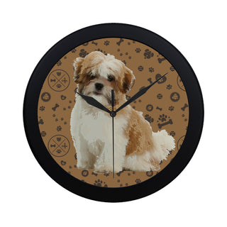 Maltese Shih Tzu Dog Black Circular Plastic Wall clock - TeeAmazing