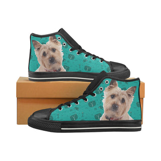 Cairn terrier Black High Top Canvas Women's Shoes/Large Size (Model 017) - TeeAmazing