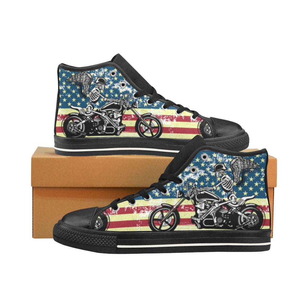 Skeleton Biker Black Men's Classic High Top Canvas Shoes /Large Size - TeeAmazing