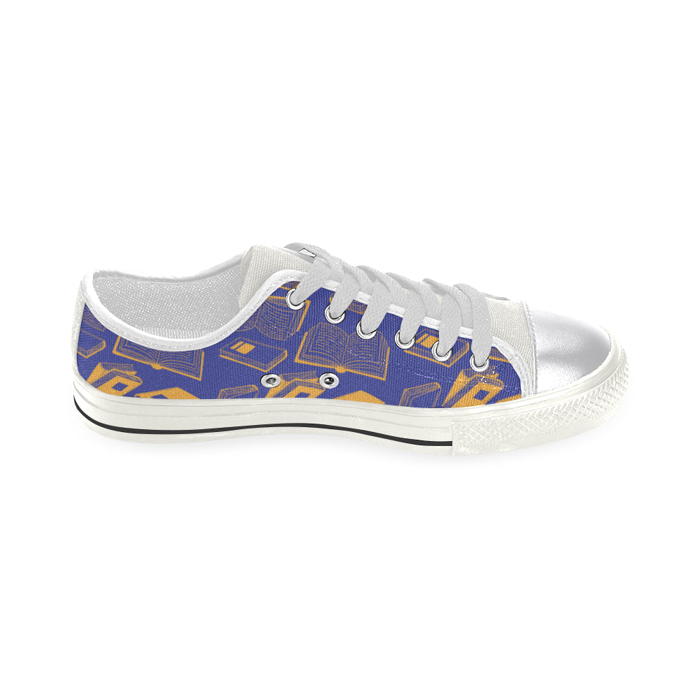 Book Pattern White Women's Classic Canvas Shoes - TeeAmazing