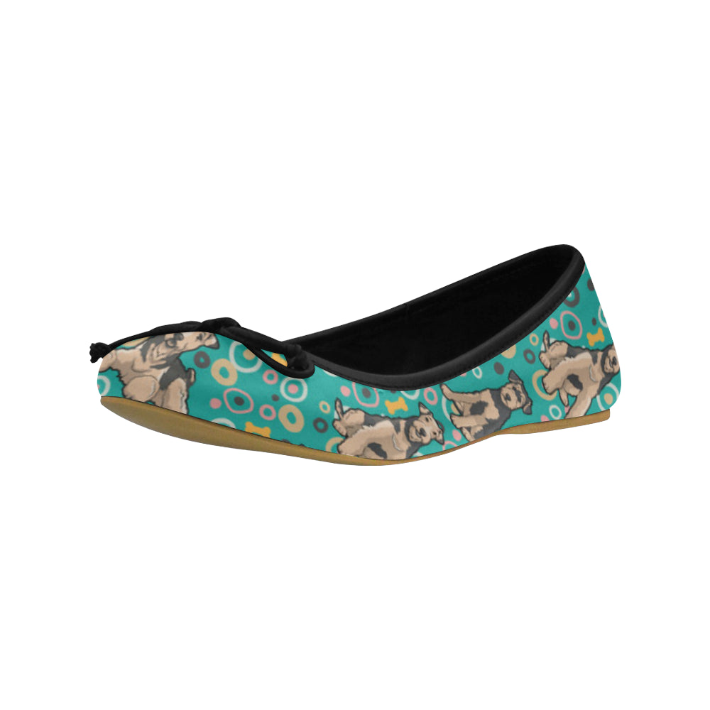 Airedale Terrier Pattern Juno Ballet Pumps - TeeAmazing