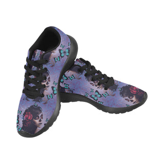 Sugar Skull Candy Black Sneakers for Men - TeeAmazing