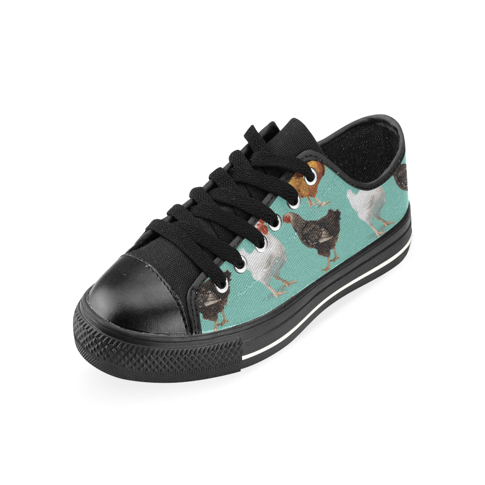 Chicken Pattern Black Men's Classic Canvas Shoes - TeeAmazing