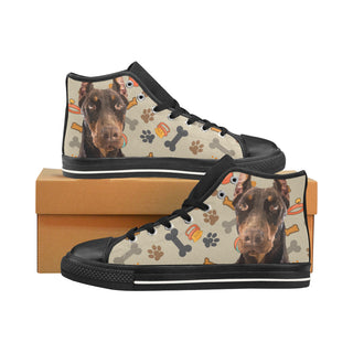 Doberman Dog Black Men's Classic High Top Canvas Shoes /Large Size - TeeAmazing