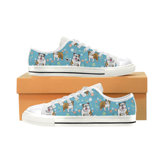 English Bulldog Flower White Canvas Women's Shoes/Large Size (Model 018) - TeeAmazing