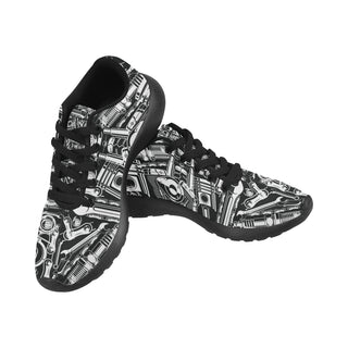 Biker Engine Black Sneakers for Women - TeeAmazing