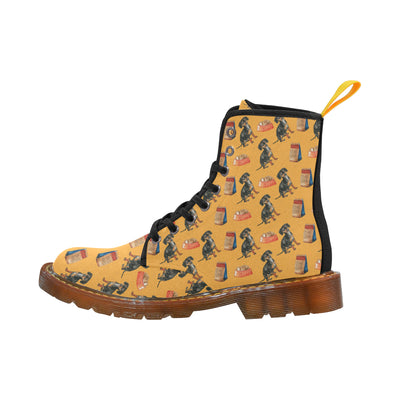 Dachshund Water Colour Pattern No.1 Black Martin Boots For Women - TeeAmazing