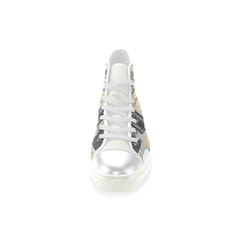 Drum Pattern White High Top Canvas Shoes for Kid - TeeAmazing
