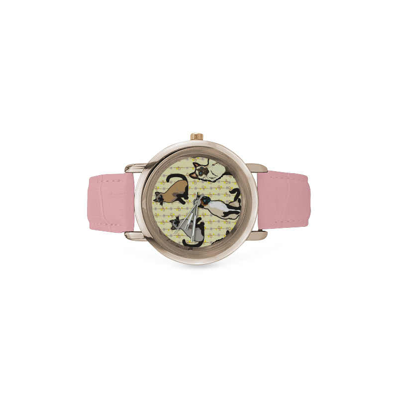 Siamese Women's Rose Gold Leather Strap Watch(Model 201) - TeeAmazing
