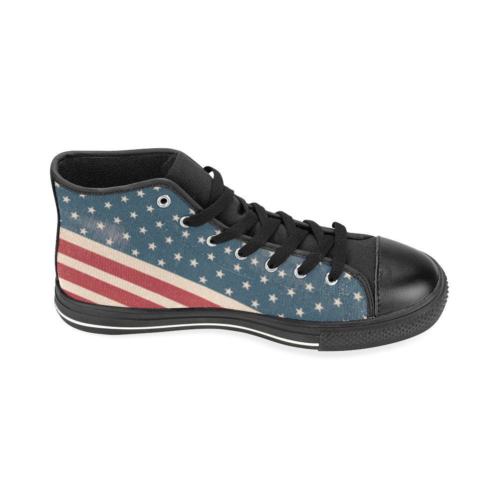 4th July V2 Black High Top Canvas Women's Shoes/Large Size - TeeAmazing